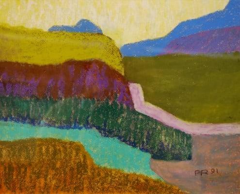 Pastell auf Papier, Paul Ruegg: Bündner Landschaft