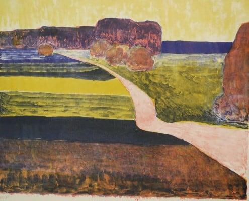 Lithographie Paul Ruegg: Landschaft mit Feldweg