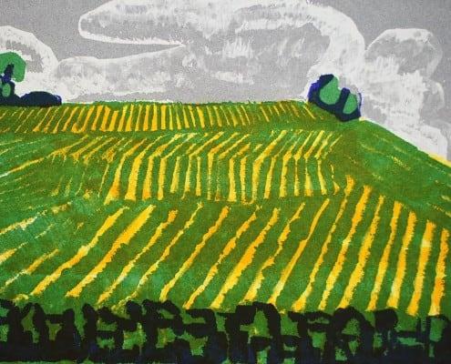 Lithographie Paul Ruegg: Gestreifte Landschaft, Strukturen