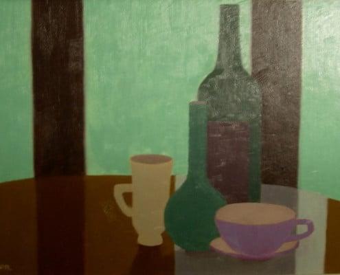 """Öl auf Karton, Paul Ruegg: """"Grüne Flasche, Vase, Tasse, Hintergrund türkis"""""""